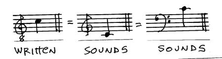 C treble bass clef